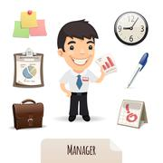Male Manager Icons Set Stock Illustration