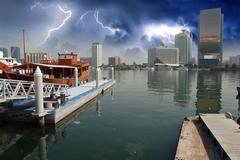 Storm approaching Dubai - stock photo