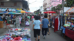 Stock Video Footage of People stroll at a market