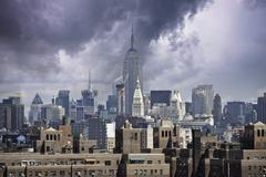 Storm approaching New York City - stock photo