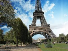 Eiffel Tower in Paris, view from Champs de Mars Stock Photos