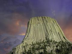 Colors of Sunset over Devils Tower, U.S.A. Stock Photos