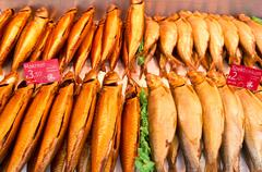 Fish in a fish stall at the albert cuyp market in amsterdam, netherlands. Stock Photos