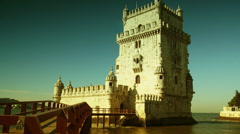 The Torre de Belem in Lisbon, Portugal. time lapse,4k, Stock Footage