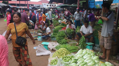 View of a market in Pakse Stock Footage