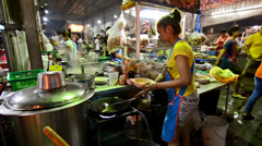 Thailand, Bangkok, February 2014. Traditional thai street food. Stock Footage