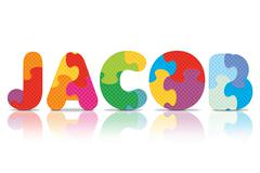 Vector jacob written with alphabet puzzle Stock Illustration