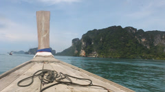 Traditional long tail boat - stock footage