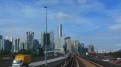 Impressive Time Lapse POV KL Monorail ride to KLCC PETRONAS Twin Towers Kuala Stock Footage
