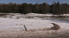 Ice jam during spring melt and flooding in Grand Valley Stock Footage