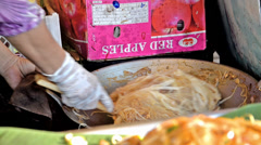 Thailand, Pattaya, February 2014. Street food, noodles. Stock Footage