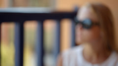 Woman on a cafe terrace Stock Footage