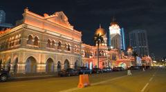 Kuala Lumpur PETRONAS Twin Tower n Sultan Abdul Samad at Merdeka Square Malaysia Stock Footage