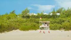 Panning Towards Lifeguard Station on Beach in Bermuda - stock footage