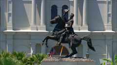 General Andrew Jackson on his bronze horse Stock Footage