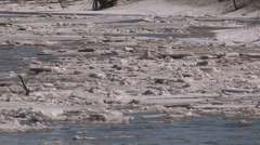 Ice jam breaks up during spring melt and flooding in Grand Valley Stock Footage
