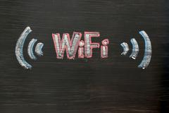 chalk drawing of wifi - stock photo