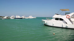 Few sea yacht anchored in bay Stock Footage