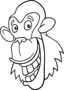 Stock Illustration of chimpanzee for coloring book