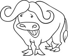 Stock Illustration of african buffalo for coloring book