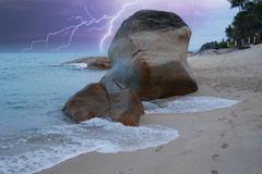 Storm approaching Lamui Beach in Koh-Samui Stock Photos
