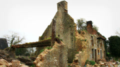 Wreck of a house in Normandy Stock Footage