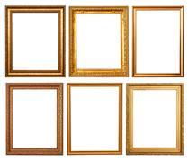 Set of 6 gold frames - stock photo