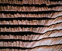 Wooden shingle roof Stock Photos