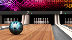 Bowling Strike. Bowling Ball crashing into the Pins on Wooden Lane Stock Footage