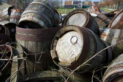 Pile of old wooden barrels on a sunny day, the netherlands Stock Photos