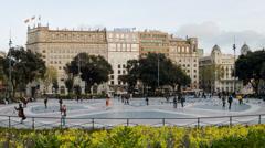 Plaça catalunya Time lapse - stock footage