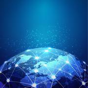 world mesh digital communication and technology network, vector eps10 - stock illustration