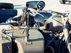 Machine gun mounted on the veteran sidecar Stock Photos