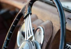 Shiny retro steering wheel Stock Photos