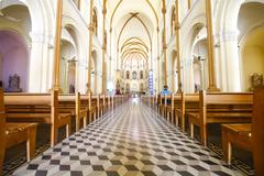 Interior and ceiling of historical building saigon notre-dame basilica in ho  Stock Photos