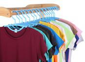 Stock Photo of t-shirts hanging on hangers