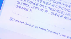 Accepting software license terms - stock footage