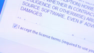 Stock Video Footage of Accepting software license terms