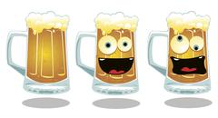 Normal and funny glasses of beer Stock Illustration