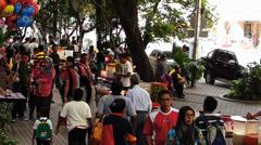 Kuala Lumpur shopping district downtown street food vendor hawkers Malaysia Asia - stock footage
