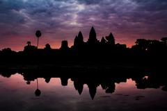 sunrise angkor wat, siem reap, cambodia - stock photo