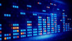Blue orange digital equalizer loopable background Stock Footage