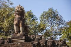 lion sculpture in ankor thom. cambodia - stock photo