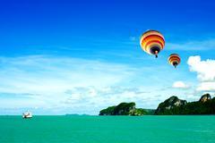 hot air balloon on the sea samui thailand - stock photo