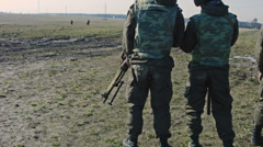 Soldiers with guns in the ranks. Stock Footage