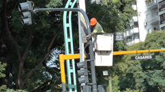 Worker Painting Traffic Lights, Semaphore Stock Footage