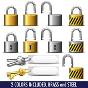 Padlock and Key - a set of Padlocks and Keys Stock Illustration
