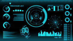 Futuristic Technology Interface Computer Data Screen Stock Footage