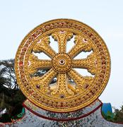 Wheel of dhamma, symbol of buddhism Stock Photos