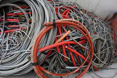 containers full of many electrical cables and copper cables - stock photo